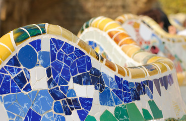 Detail of mosiac bench in Park Guell, Barcelona