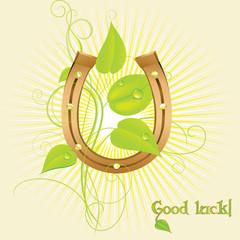 Golden horseshoe for good luck