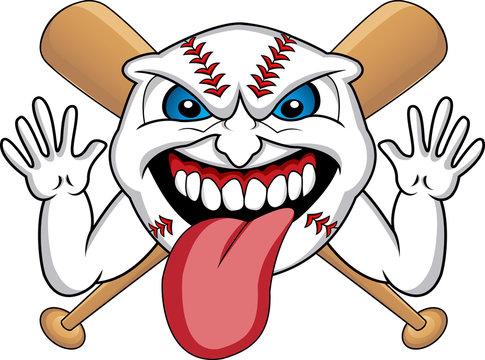 baseball face cartoon
