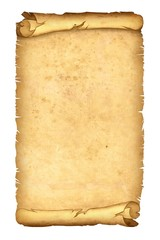 parchment papyrus scroll isolated on white background