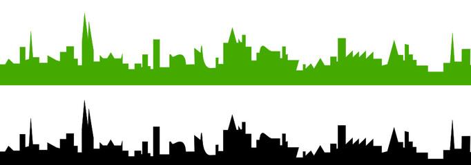 Wall Mural - Skyline Stadt in grün und schwarz