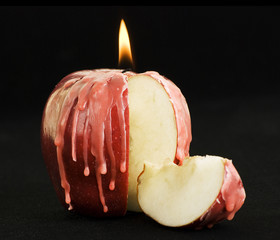 sliced apple candle