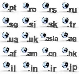 20 Toplevel Domains mit Weltkugel