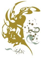 Adornment golden tribal fish, vector