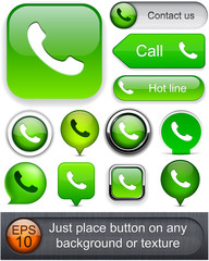 Phone high-detailed web button collection.