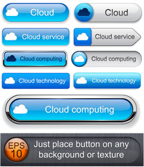 Cloud computing high-detailed modern buttons.
