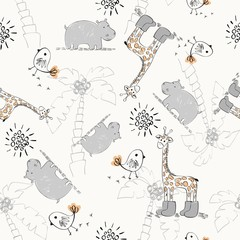 Sweet babies doodle seamless pattern. Pastel background.
