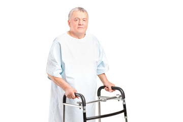 A senior patient using a walker