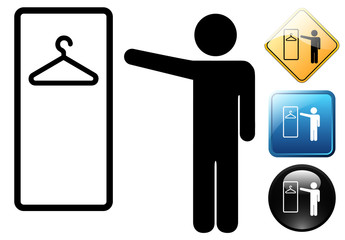 Wardrobe male pictogram and icons