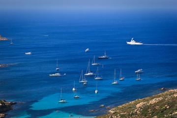 Splendid corsica coastal waters with boats.