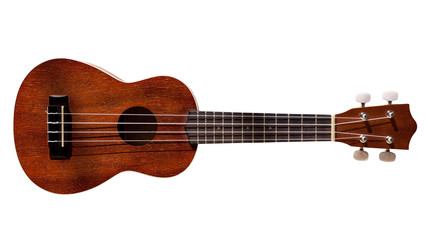 Hawaiian ukulele guitar with four strings isolated on white
