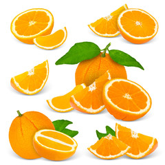 Collection of oranges with leaves and slices isolated on white