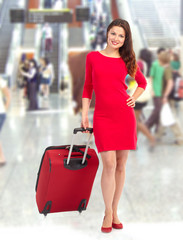 Woman tourist at the airport.