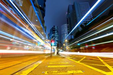 traffic at city in night