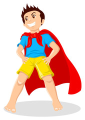 Poster Superheroes Cartoon illustration of a kid playing a superhero