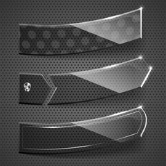 Glass stickers on grey background. Vector illustration.