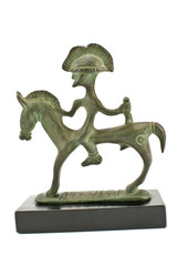 Etruscan bronze sculpture of warrior on horse