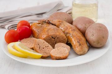 Photo sur Plexiglas Roe cod roe with potato and lemon