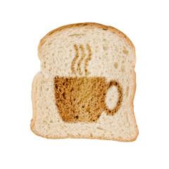 Toast pain grillé dessin tasse, fond blanc