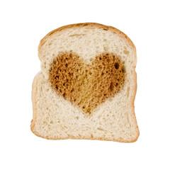 Toast pain grillé dessin coeur, fond blanc