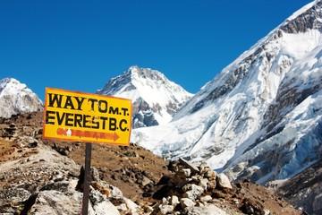 Wall Murals Nepal signpost way to mount everest b.c. and himalayan panorama
