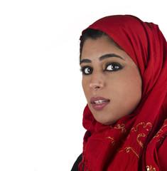 arabian islamic lady wearing hijab & smiling