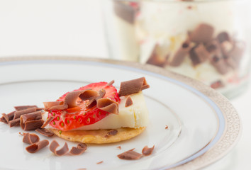 strawberry and cheese canapé and ice cream
