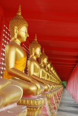 Row of seated Buddhas at the temple  of Uthai Thani, Thailand.