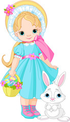 Girl with Easter rabbit
