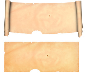 Antique parchment.Isolated on a white background.
