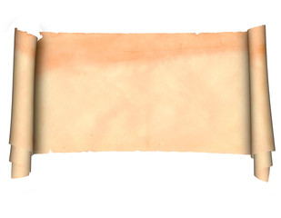 Antique scroll of parchment on a white background.
