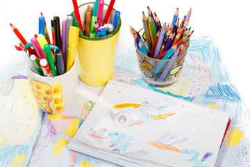 Abstract painting  and pen holders  with colored pens