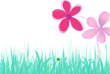 artificial flower illustration with grass, copy space