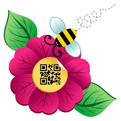 Spring time flower and Bee with qr code