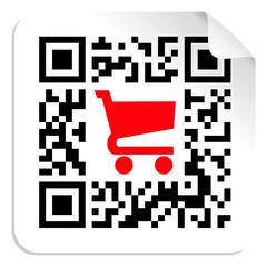 Wall Murals Pixel Buy label sign QR code
