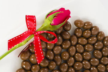 Chocolate heart and rose in the Valentine's Day