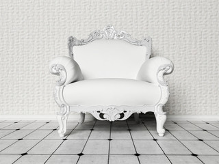 A beautiful white chair in the room