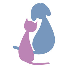 Color cat and dog