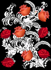 white design with red roses