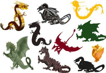 set of ten dragons on white