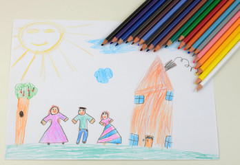 Children's draw with colored pencils above