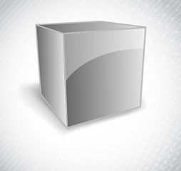 Background with silver  cube