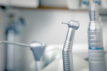 Metallic dentist tools close up