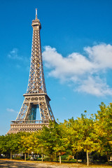 Eiffel Tower in the blue sky