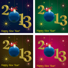 2013 New Year with Santa Claus and ball, different  background