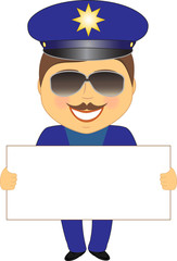 smile isolated policeman showing space for text