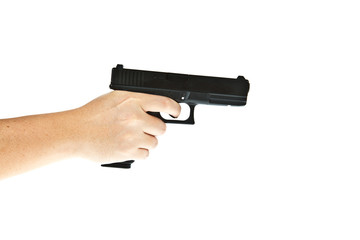 Airsoft hand gun, glock model with hand aim the target