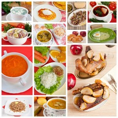 Delicious homemade food, collage