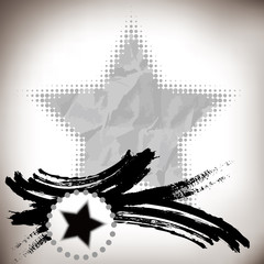 asian abstract brushwork and five-pointed star background