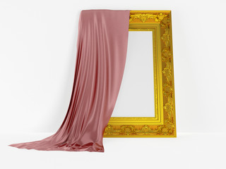 Frame for a picture with silk drapery